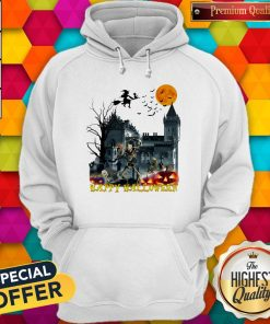 Awesome Witch And Skeleton Happy Halloween Hoodie