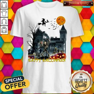 Awesome Witch And Skeleton Happy Halloween Shirt