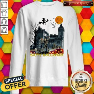 Awesome Witch And Skeleton Happy Halloween Sweatshirt