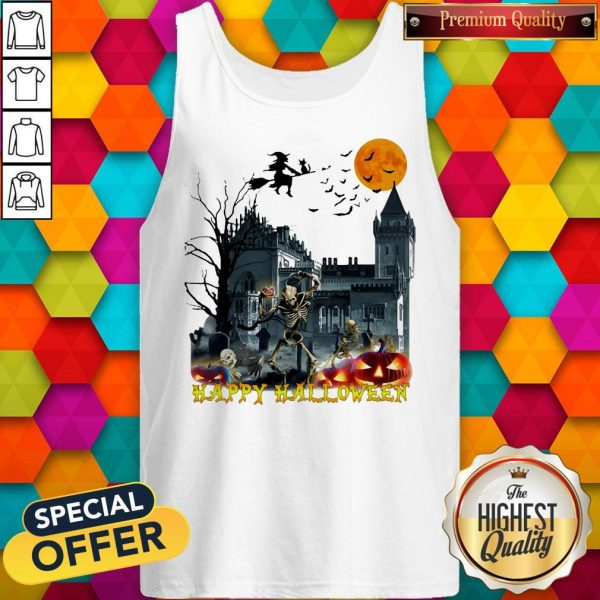Awesome Witch And Skeleton Happy Halloween Tank Top