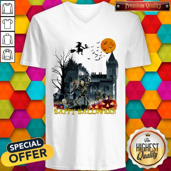 Awesome Witch And Skeleton Happy Halloween V-neck