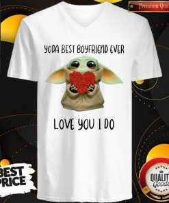 Baby Yoda Hug Flower Heart Best Boyfriend Ever Love You I Do V-neck