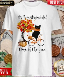 Black Cat Fall Pumpkin The Most Wonderful Time Of The Year Shirt