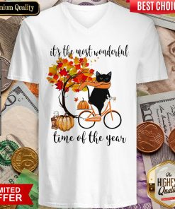 Black Cat Fall Pumpkin The Most Wonderful Time Of The Year V-neck