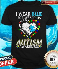 Blue For My Scouts Accept Understand Love Autism Heart Shirt