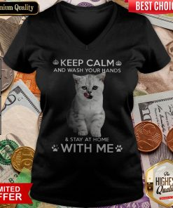 Cat Keep Calm And Wash Your Hands And Stay At Home With Me V-neck
