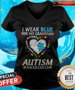 Wear Blue For My Granndson Autism Awareness Heart V-neck