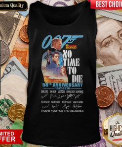 007 James Bond No Time To Die 58th Anniversary 1962 2020 Thank You For The Memories Signatures Tank Top