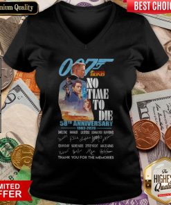 007 James Bond No Time To Die 58th Anniversary 1962 2020 Thank You For The Memories Signatures V-neck
