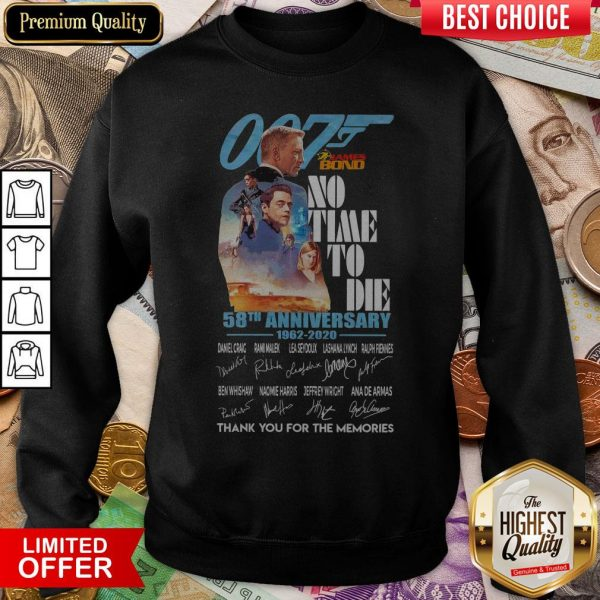 007 James Bond No Time To Die 58th Anniversary 1962 2020 Thank You For The Memories Signatures Sweatshirt