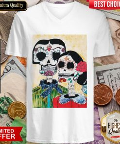 Amor Skeleton Couple Day Of The Dead Muertos V-neck