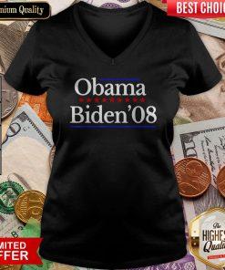 Barack Obama Joe Biden Election Vote 2008 Vintage V-neck