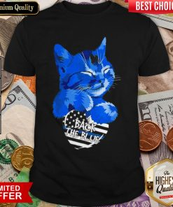 Cat Back The Blue Thin Blue Line Vintage Retro Shirt