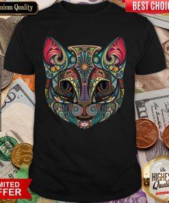 Cat Sugar Skull Dia De Los Muertos T-Shirt