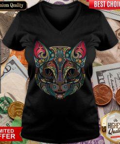 Cat Sugar Skull Dia De Los Muertos V-neck