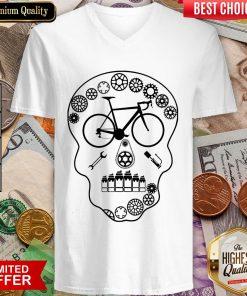 Cog Skull Bicycle Day Of Dead V-neck