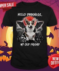 Corgi Hello Darkness My Old Friend Halloween Vintage Retro Shirt