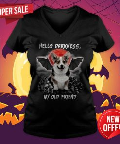 Corgi Hello Darkness My Old Friend Halloween Vintage Retro V-neck