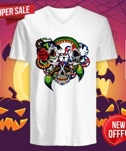 Cracked Candy Skulls Day Of The Dead Muertos V-neck