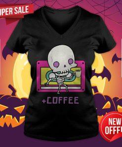 Cute Skeleton Drinking Coffee Day Dead Dia De Los Muertos V-neck