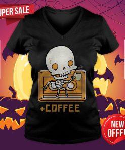 Cute Skeleton Drinking Coffee Day Of The Dead Dia De Muertos V-neck