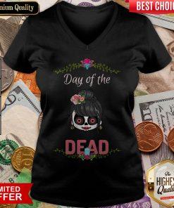 Cute Sugar Skull Day Of The Dead V-neck