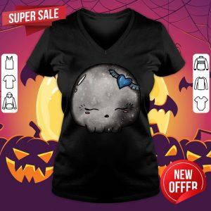 Halloween Silver Moon Skull Kawaii Cute Sugar Skull V-neck