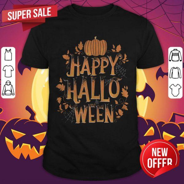 Retro Happy Halloween Shirt Women Men Vintage Pumpkin T-Shirt