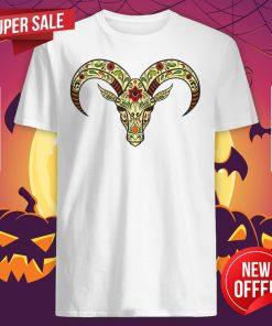 Sugar Skull Aries Day Of The Dead Dia De Los Muertos Shirt