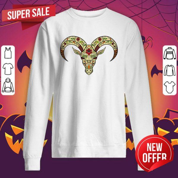 Sugar Skull Aries Day Of The Dead Dia De Los Muertos Sweatshirt