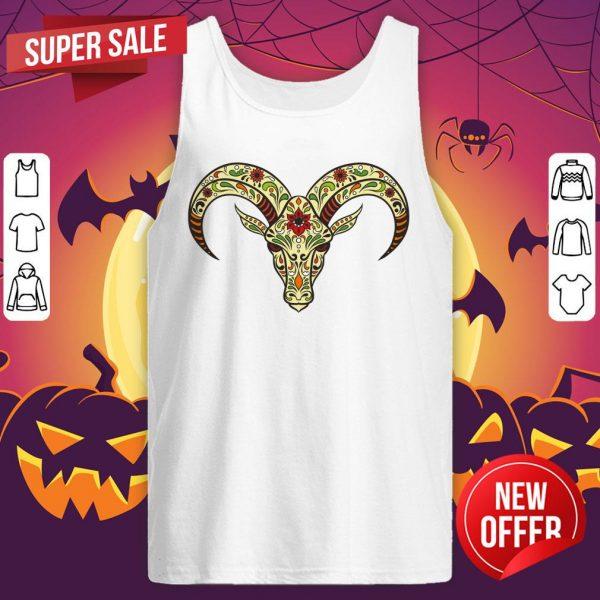 Sugar Skull Aries Day Of The Dead Dia De Los Muertos Tank Top