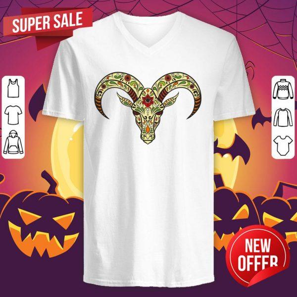 Sugar Skull Aries Day Of The Dead Dia De Los Muertos V-neck
