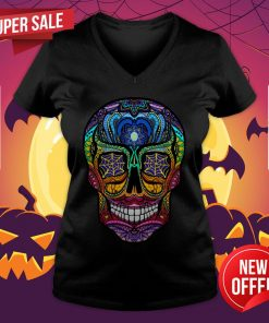 Sugar Skull Colorful Dia De Muertos Day Of The Dead V-neck