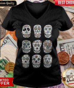 Sugar Skulls Dia De Muertos Day Of The Dead V-neck