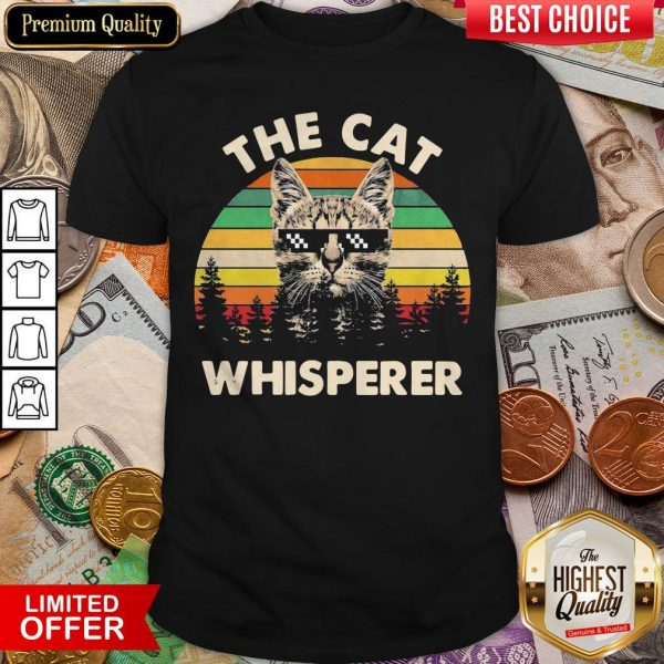The Cat With Glasses Whisperer Vintage Retro Shirt