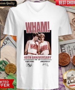 Wham 40th Anniversary 1981 2021 Signatures V-neck