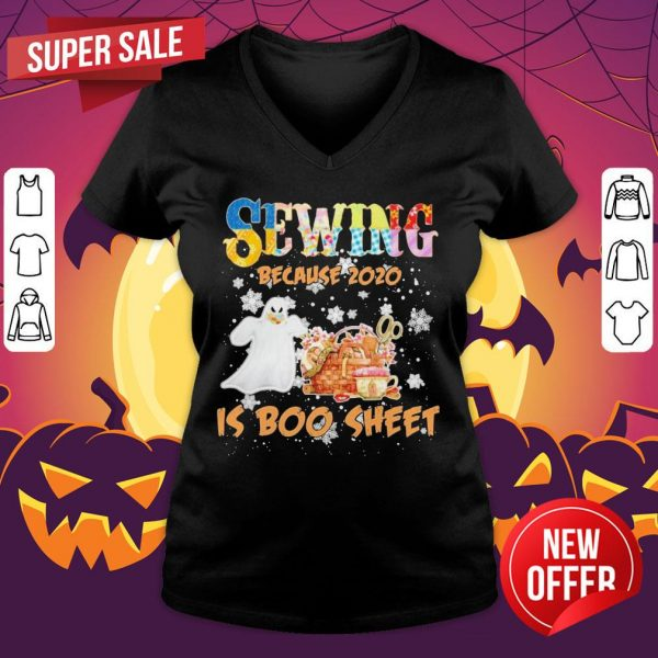 Autism Sewing Because 2020 Is Boo Sheet Merry Christmas V-neck