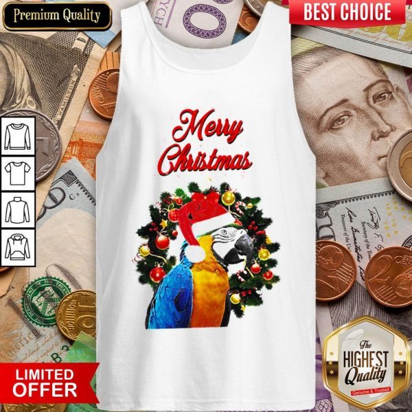 Funny Parrot Merry Christmas Tank Top - Design By Viewtees.com