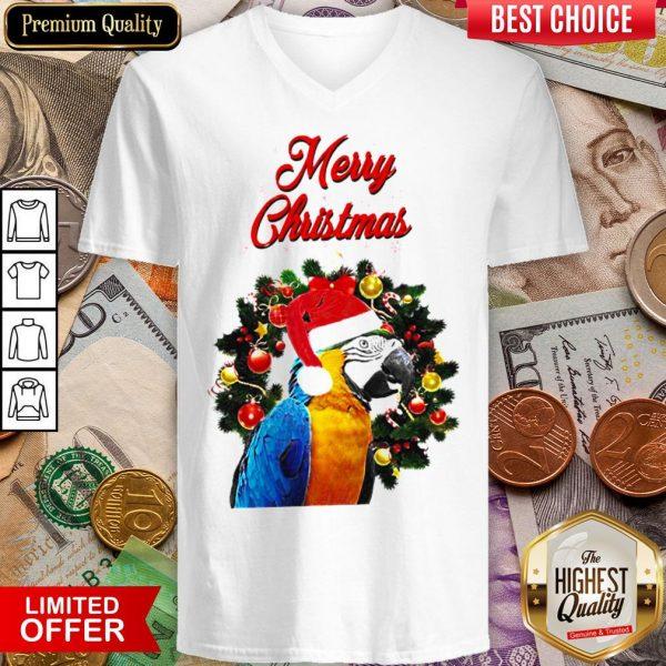 Funny Parrot Merry Christmas V-neck - Design By Viewtees.com