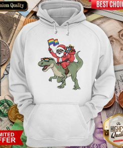 Funny Santa Riding Saurus Hoodie - Design By Viewtees.com