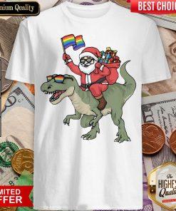 Funny Santa Riding Saurus Shirt - Design By Viewtees.com