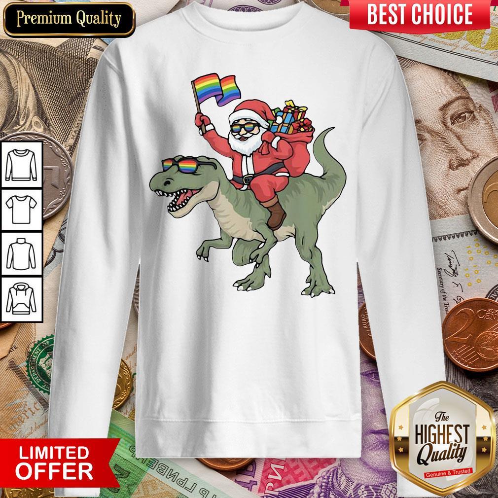 Funny Santa Riding Saurus Sweatshirt - Design By Viewtees.com