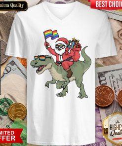 Funny Santa Riding Saurus V-neck - Design By Viewtees.com