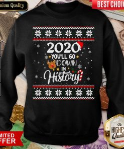 Good 2020 You'll Go Down In History Funny Christmas Ugly Sweater Sweatshirt - Design By Viewtees.com