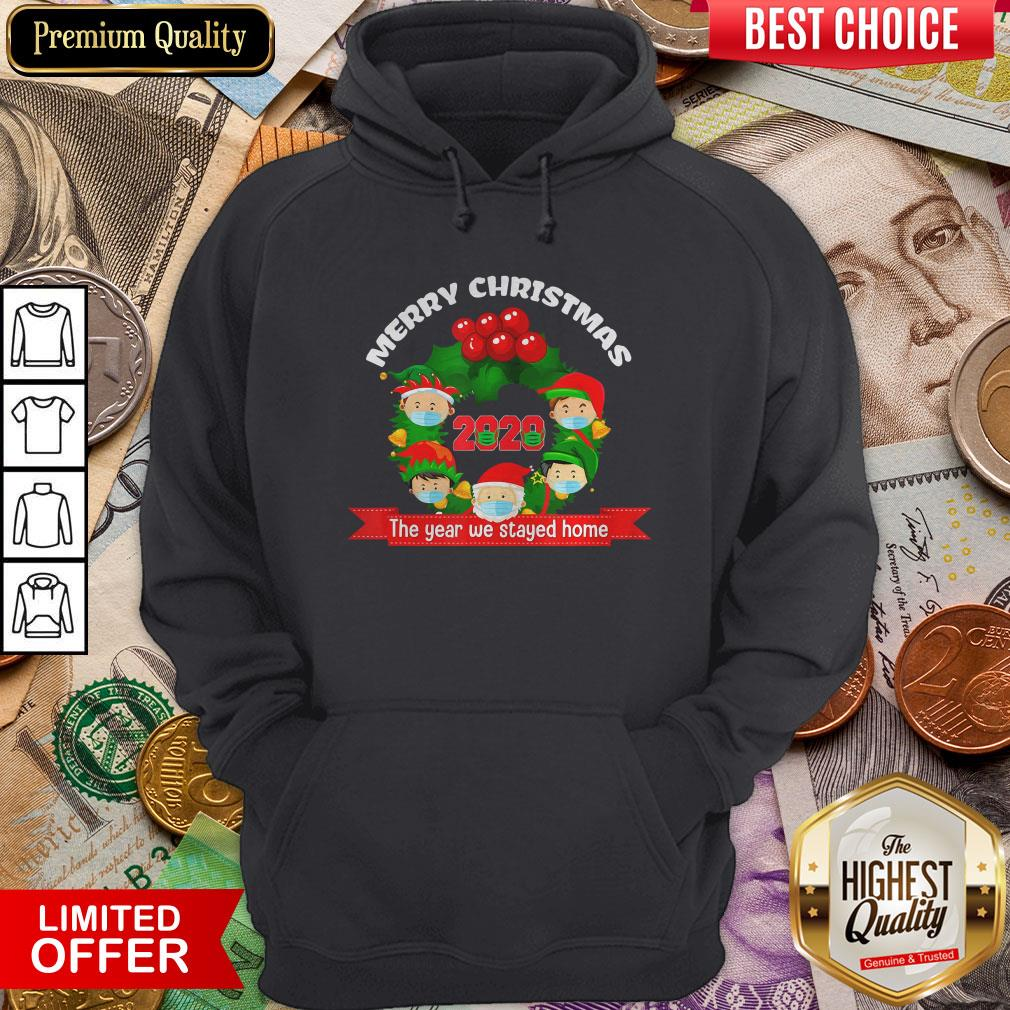 Good Merry Christmas 2020 The Year We Stayed Home Santa Face Mask Hoodie - Design By Viewtees.com