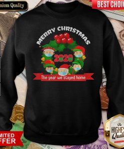 Good Merry Christmas 2020 The Year We Stayed Home Santa Face Mask Sweatshirt - Design By Viewtees.com