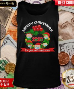 Good Merry Christmas 2020 The Year We Stayed Home Santa Face Mask Tank Top - Design By Viewtees.com