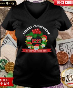 Good Merry Christmas 2020 The Year We Stayed Home Santa Face Mask V-neck - Design By Viewtees.com