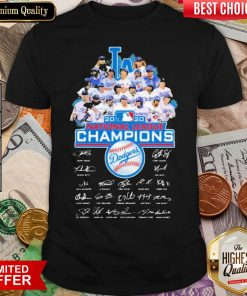 Hot Los Angeles Dodgers 2020 National League Champions Signatures Shirt - Design By Viewtees.com