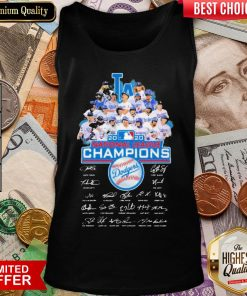 Hot Los Angeles Dodgers 2020 National League Champions Signatures Tank Top - Design By Viewtees.com